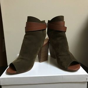 Just Fab peep toe buckled ankle bootie